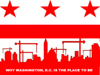 About Business Development graphic red and white with stars and bars
