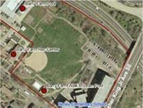 Aerial shot of Barry Farm Recreation Center