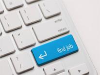 "Computer keyboard with ""find job"" key"